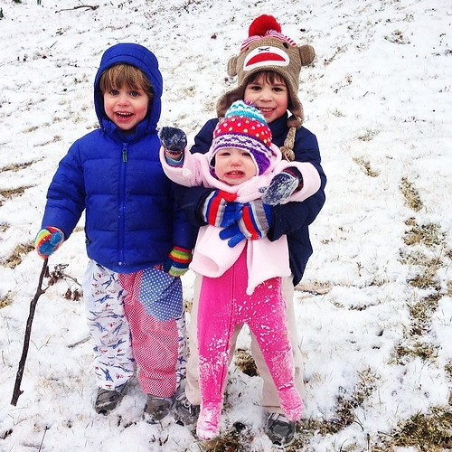One of the three didn't want to stop playing in the snow. #stillnopower #thankfulforgrandparents