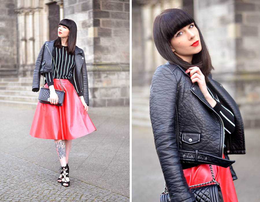 Romwe red skirt Zara leater biker Romwe striped shirt chanel le boy chanelofficial boybag CATS & DOGS black red fashion blogger Berlin 6