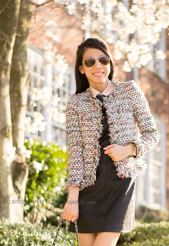 tweed jacket, collared blouse, black leather dress
