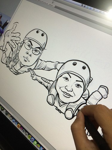 digital couple caricatures sky diving