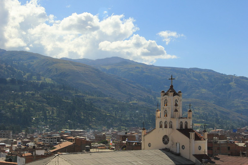 View of Huaraz and the Iglesia Señor de Soleadad from the terrace of Santiago's House