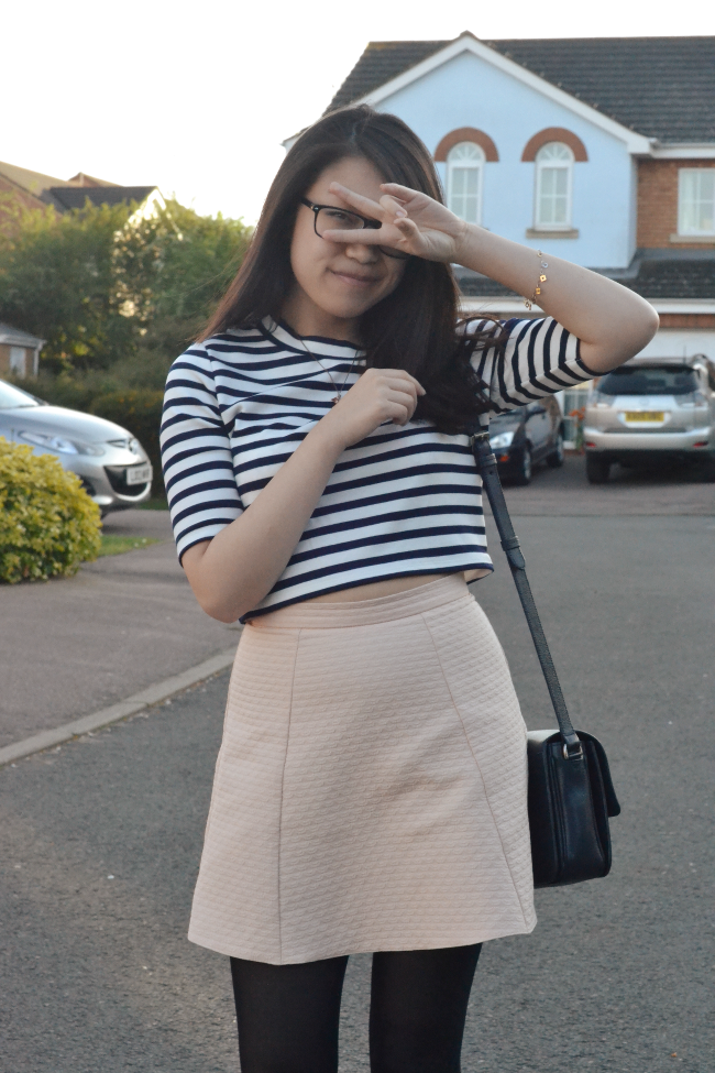 Daisybutter - UK Style and Fashion Blog: what i wore, H&M striped top, pastel pink skirt, Mulberry Bayswater Shoulder Midnight Navy blog