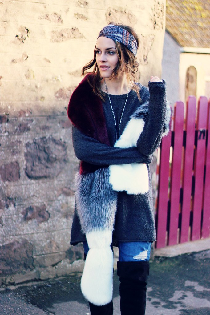 Missguided colour block fur stole 3