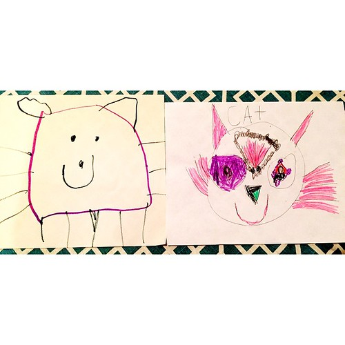 Portrait of a cat by Killian at age 4 and Killian at age 5. Love to see the progression. #kidart