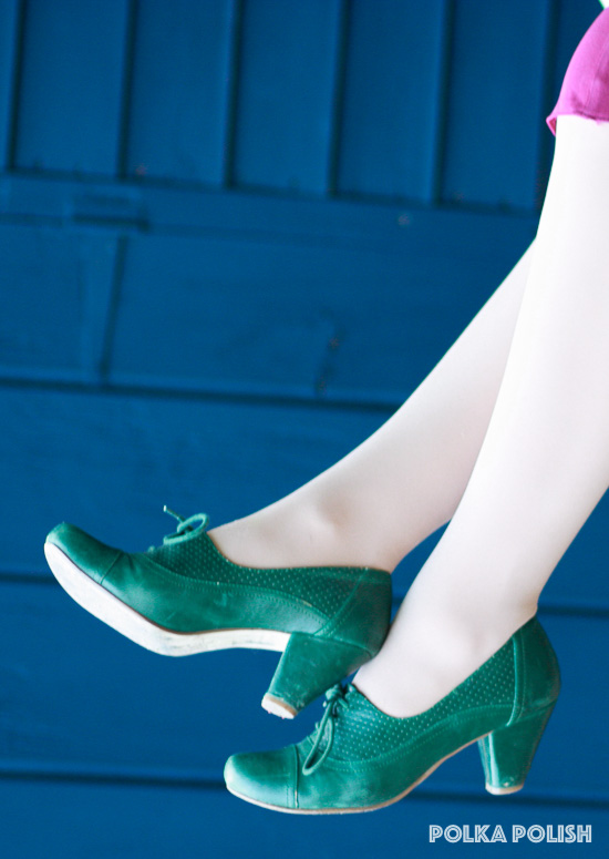 Forest green shoes with a lace-up vamp by Chelsea Crew