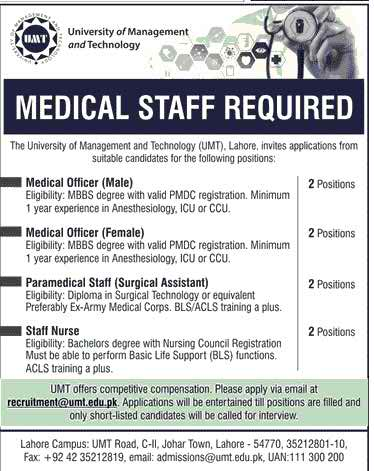 University of Management and Technology Medical Staff Required