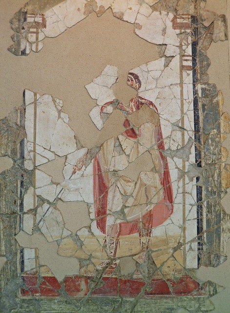 Fresco from the luxurious latrine of the Baths of the Wrestlers depicting a referee, 3rd century AD, Saint-Romain-En-Gal