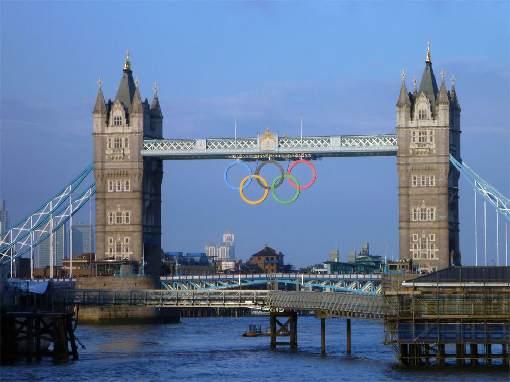 London Bridge with Olympic rings 2012