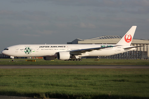 JA734J JAPAN AIRLINES Boeing 777-346ER ECO logo jet (EGLL) 22/05/2013 by Mepo's World Aircraft