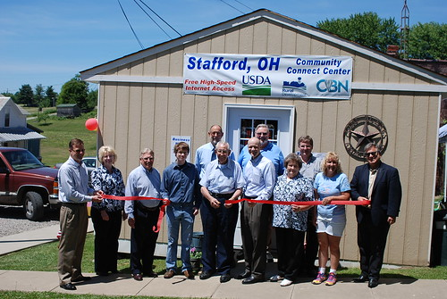A ribbon cutting for the new Stafford, Ohio Community Connect Center.  (Far right, State Director Tony Logan. Front row,  fourth from the right, Acting Under Secretary for Rural Development Doug O'Brien).  The center will provide free broadband for two years. USDA photos by Heather Hartley.