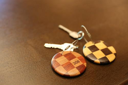 界 箱根 寄木細工のキーホルダー