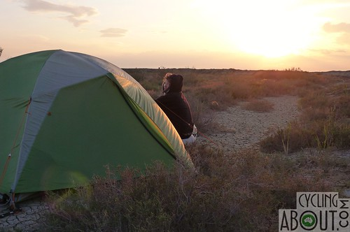 Wild camping in the desert of Azerbaijan