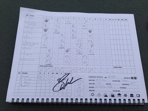 Zack Wheeler signed scorecard