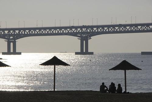 bridge beach sunrise korea busan southkorea gwangalli