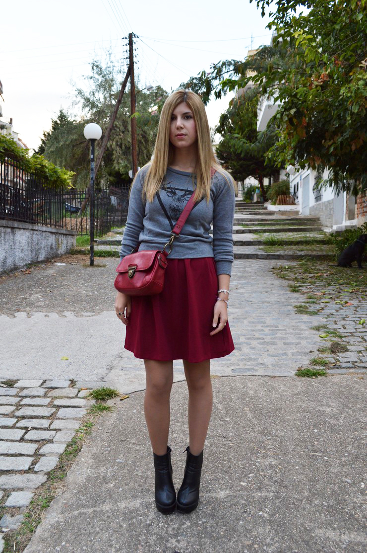 burgundy dress grey sweater15