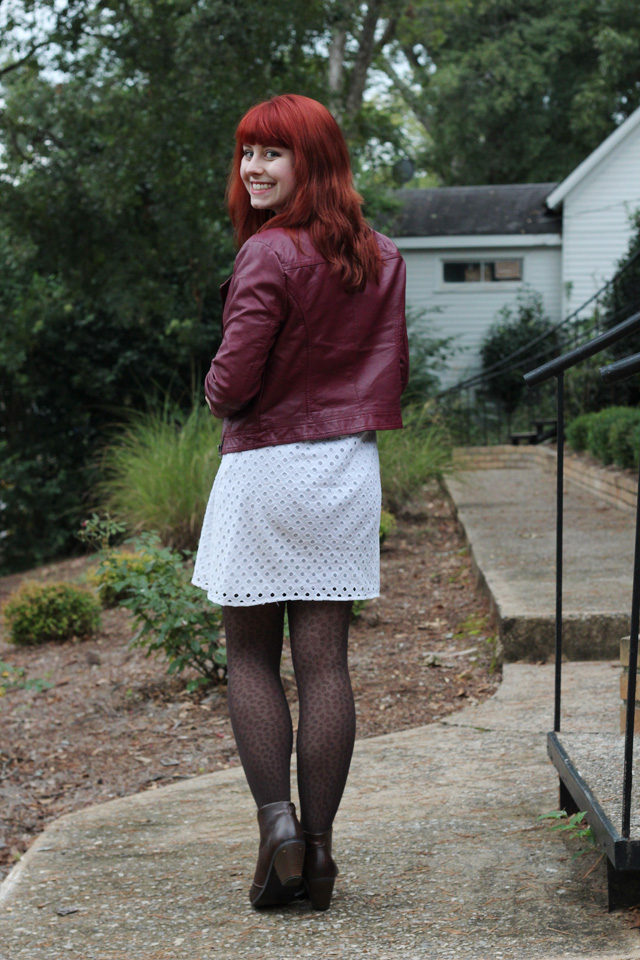 Burgundy Leather Jacket with White Eyelet and Leopard Print