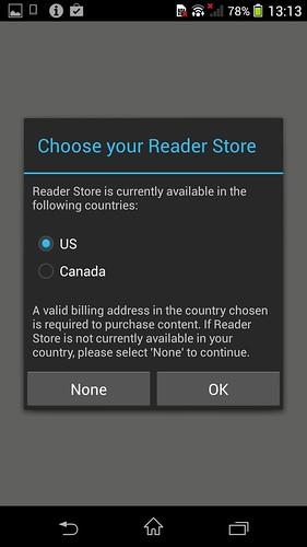 Reader by Sony ใช้บริการได้เฉพาะในสหรัฐอเมริกา และ แคนาดา