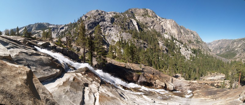 Panorama shot of Waterwheel Falls on the Tuolumne River, Falls Ridge and Peak 8615 across the river