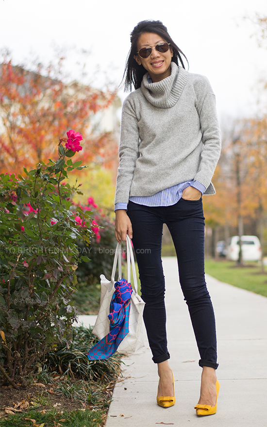 gray cowlneck sweater, striped shirt, mustard bow pumps