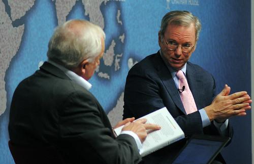 Eric Schmidt, Executive Chairman, Google (left) in conversation with Nik Gowing