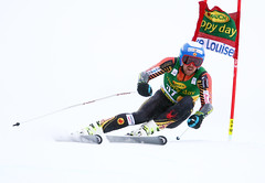 Dustin Cook competes in the super-G at the FIS Alpine World Cup in Lake Louise, CAN