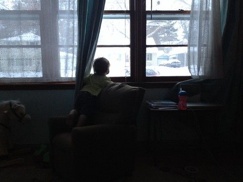 Watching daddy snowblow