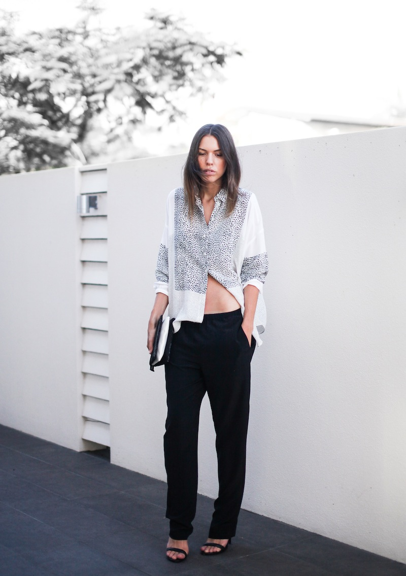 modern legacy fashion style blogger australia Life With Bird print shirt Saba pants lo slung midriff Alexander Wang Antonia heels street style tall summer (1 of 2)