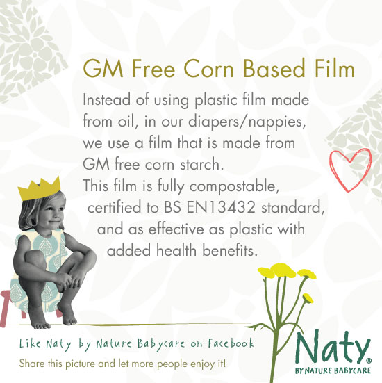 Plastic free diapers/nappies with GM free corn based film