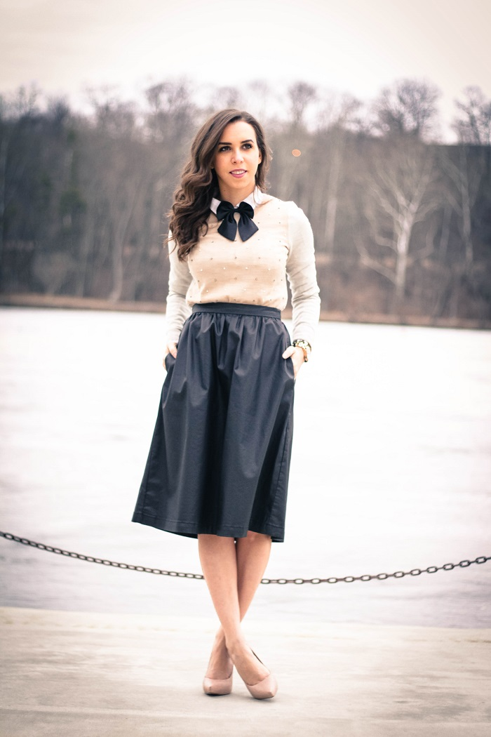 va darling. dc blogger. virginia personal style blogger. faux leather midi skirt. beaded sweater. women's bow tie. nude pumps. 1