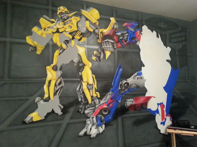 Optimus Prime and Bumblebee Transformers Mural in Progress - (Dave Schaeffer)