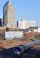 Amtrak train departing Raleigh, NC
