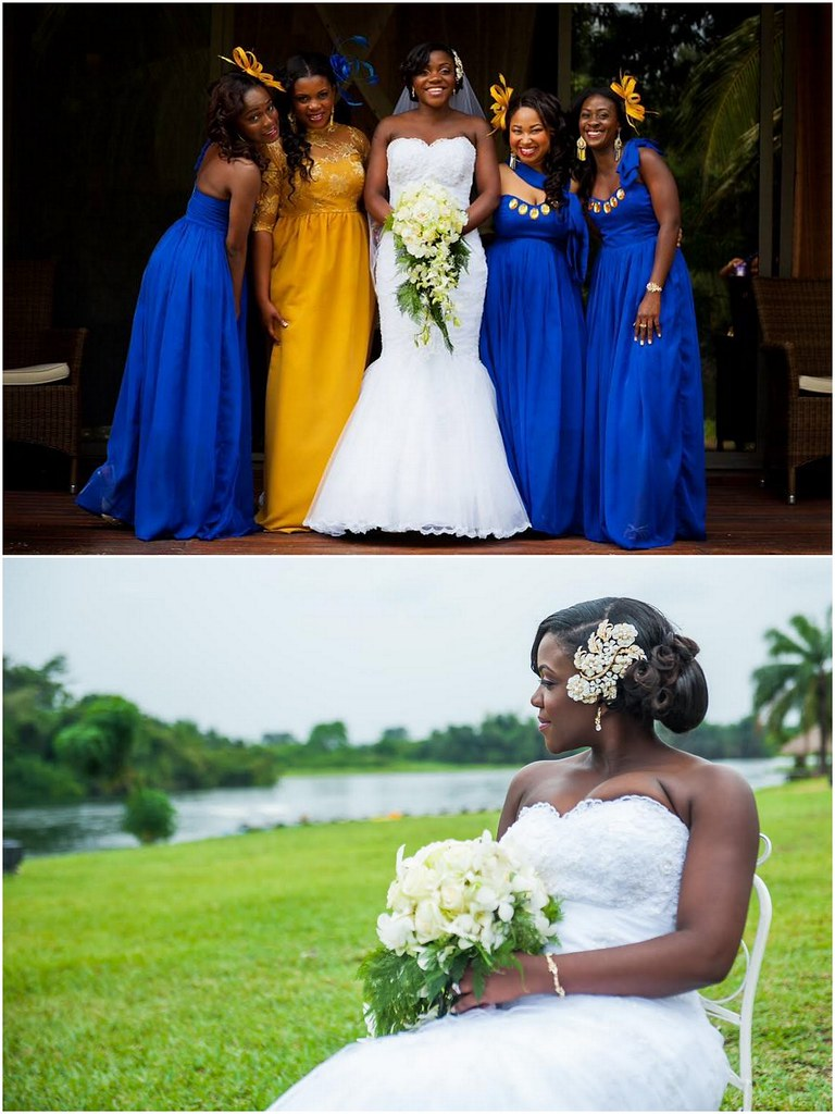 kente cloth dresses, cobalt blue bridesmaids, yellow and blue wedding, destination wedding in Ghana