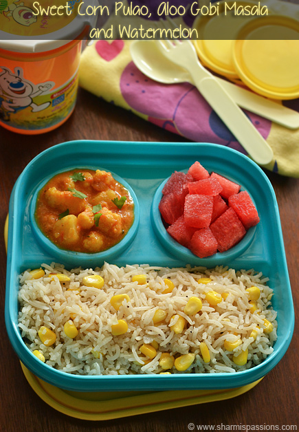 Sweet corn pulao aloo gobi masala kids lunch box recipes idea 13 sweet corn pulao aloo gobi masala forumfinder Images