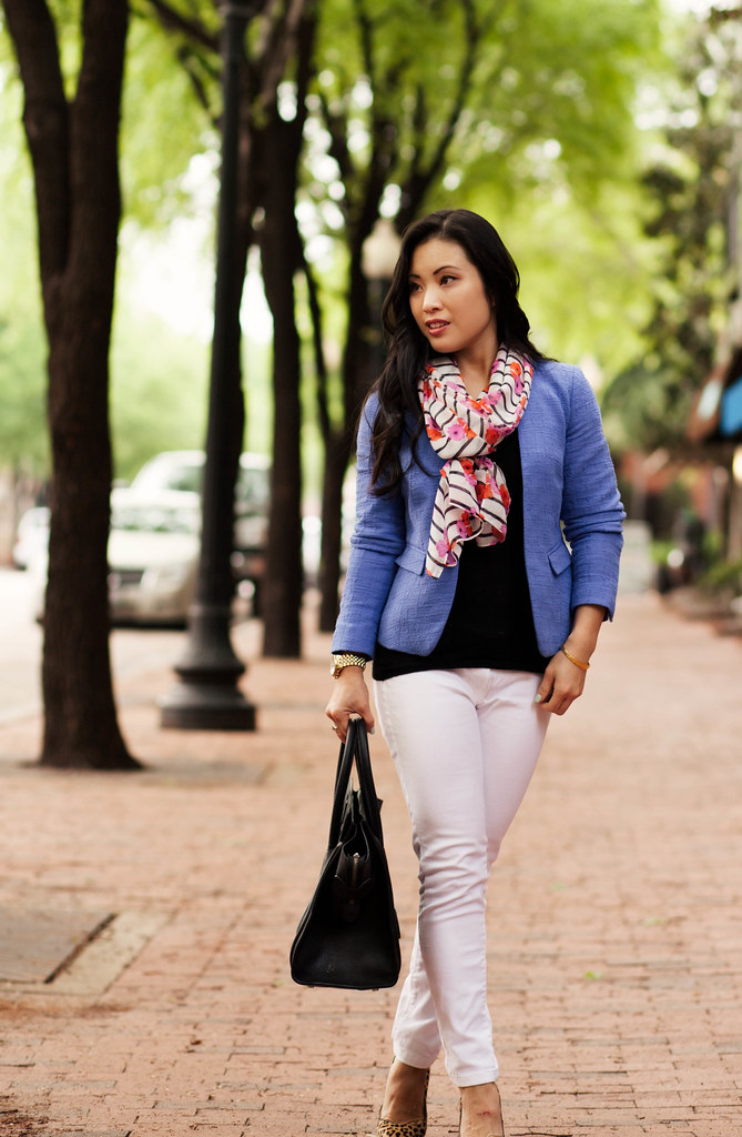 cute & little blog | blue blazer, floral stripes scarf, white jeans, leopard pumps | spring pattern mix outfit