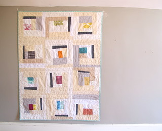 Neutral Improv Log Cabin Baby Quilt