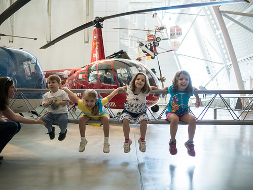 Four kids and some helicopters