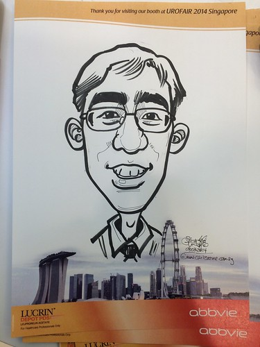 caricature live sketching for Urofair 2014 - Day 2