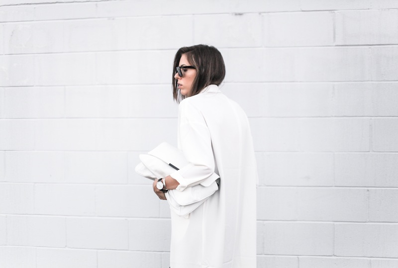 modern legacy blog street style off duty ASOS Duster Coat Common Projects slide sandals Topshop Boutique midi silk cami dress Zara leather clutch monochrome black white blogger balayage hair tuck oversized minimalist (8 of 8)
