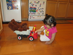 Dani playing with Daddy's childhood truck
