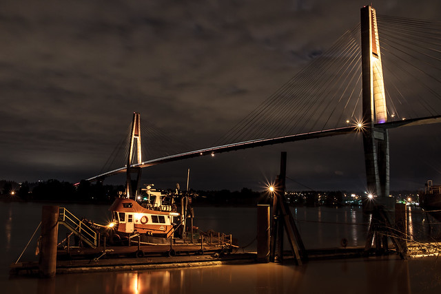 Tug boat at night