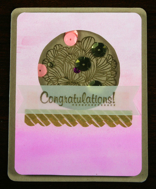 Pink Ombre Watercolor and Gold Embossed Card | shirley shirley bo birley Blog