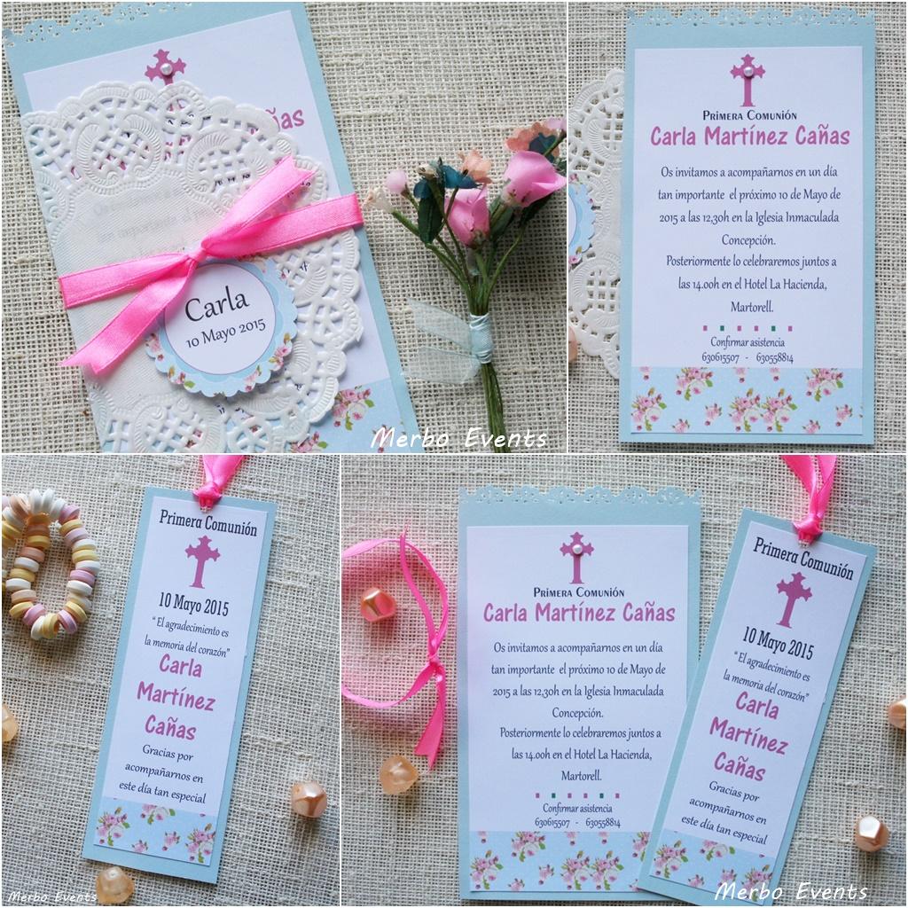 Conjunto Shaby Chic celeste Invitaciones y punto de libro Colección Comuniones Niñas Merbo Events