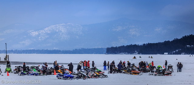 Snowmobiles on Lake George