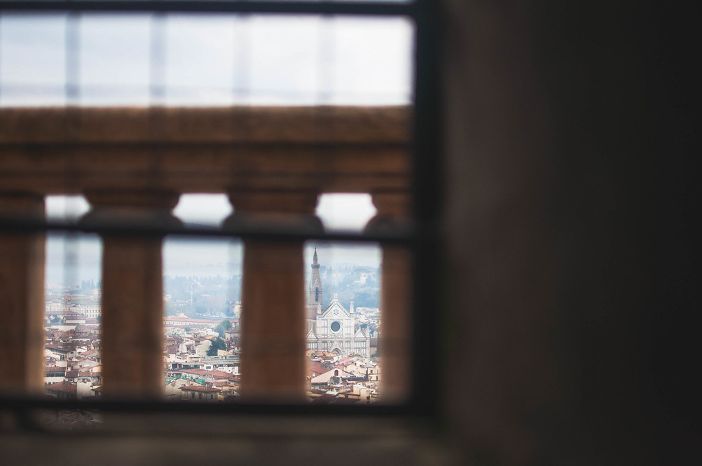 View Through Window in Duomo Stairwell