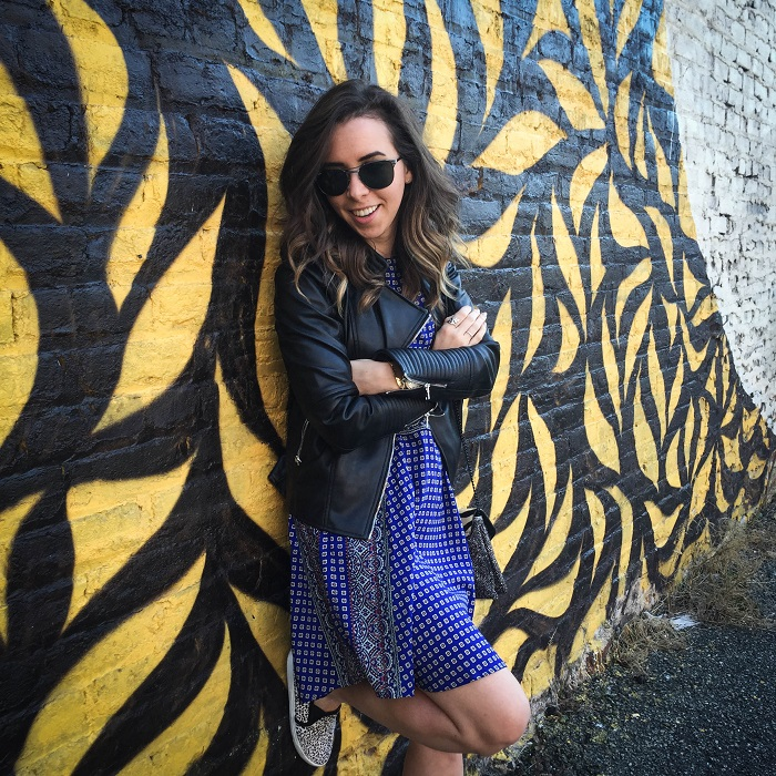 fashion blogger. va darling. a viza style. printed silk madewell dress. faux leather zara jacket. joie kidmore shoes. spring outfit. brunch. andrea viza 8