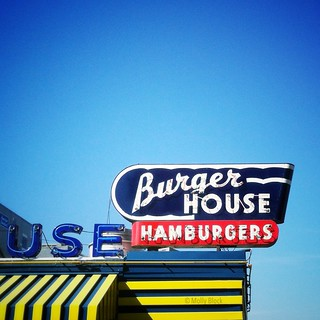 Sweet neon sign for the Burger House -- open in Dallas, TX, since 1951