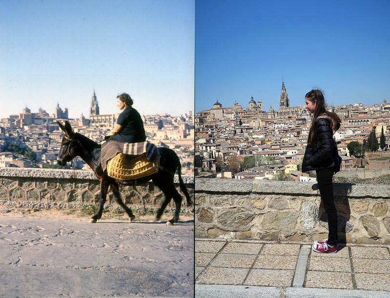 Toledo en noviembre de 1961 y en abril de 2016 fotografiada por Piet Welling y Lieke Welling (1961) y Hans Welling (2016)