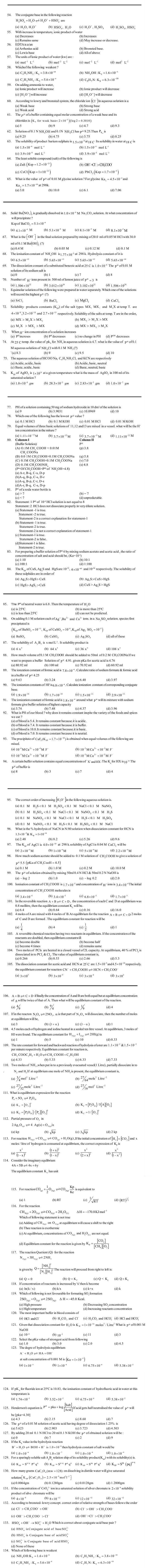 JEE and AIPMT Question Bank Chemistry - Equilibrium