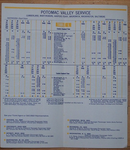 Page from a 1969 C&O/B&O railroad timetable showing the Potomac Valley Service schedule serving Washington, DC