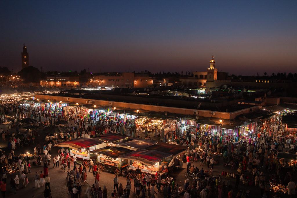 Place Jemaa el-Fna - Marrakech - Morocco - Maroc - Maroko - ?????? - Fas - Marruecos - Marokko - ??????? - Night - Nuit - Photo Image Photography
